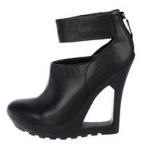 BCBG Max Azria Cutout Leather Wedge Booties